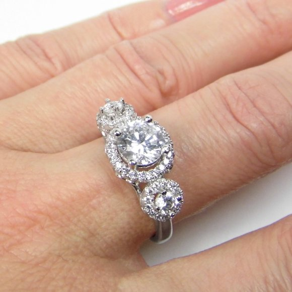 1.67 cttw 3st Halo Engagement Sterling SILVER Ring